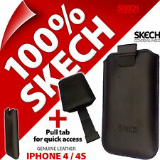 New Skech Strap Pouch Pull Tab GENUINE LEATHER Case Cover for Apple iPhone 4 4S