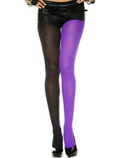 Two Tone Color Block Harlequin Opaque Jester Elf Tights Costume Pantyhose M-XL