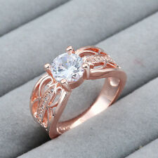 Women Crystal Ring Plated 18K Rose Gold Jewelry  2 Color 3 Size 7-9 NF