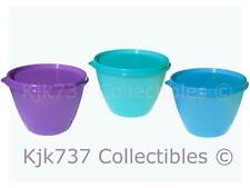 3 RARE TUPPERWARE REFRIGERATOR BOWLS CONTAINER 10 OZ BLUE / PURPLE / TURQUOISE