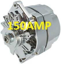 150AMP HIGH AMP CHROME ALTERNATOR  3 - WIRE THREE SYSTEM FOR CHEVY GM BUICK
