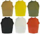 New Womens Ladies Sleeveless Ribbed Cropped Summer Crop Top Vest T-Shirt 8-14 UK