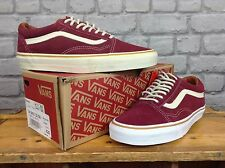 VANS MENS UK 7 EU 40.5 BURGUNDY CREAM SUEDE OLD SKOOL TRAINERS