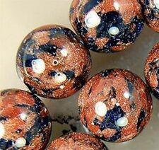 6mm AAA Galaxy Staras Gold Blue Sand Sun Sitara Loose Bead 15''
