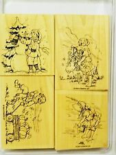 Stampin Up SWEET SEASONS wood mount stamps Kids fall Winter Christmas Easter
