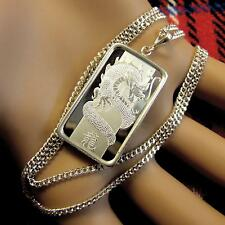 New Sterling Silver horse or dragon pendant with 10g fine silver bar & chain