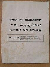 Istruzioni PER MULINELLO REEL TAPE RECORDER brenell MARK 5 Portatile Lettore Nastro