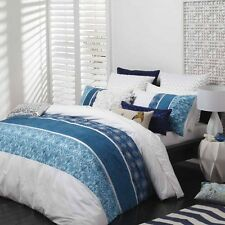 Logan and Mason TORQUAY BLUE Double Bed Size Doona Duvet Quilt cover set NEW
