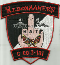 ARMY C Co 3rd Battalion 101st Aviation Cavalry Militray Patch WIDOWMAKER'S HATE