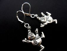 A PAIR OF TIBETAN SILVER CHRISTMAS SNOWMAN  LEVERBACK HOOK  EARRINGS. NEW.