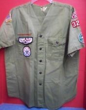 Vintage Boy Scouts of America Shirt Greentown Ind Patches Scoutmaster Kickapoo