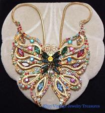 Vintage JULIANA Butterfly  Multi Color Glass Rhinestone Necklace Estate Lot K426