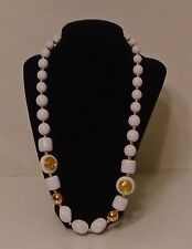 """Costume Jewelry Necklace Pretty Large White Beads & Small Gold Beads 28"""" Long"""