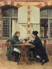 Metal Sign Jeanlouis Ernest Meissonier The Card Players 1872 1575X12In A4 12x8 A