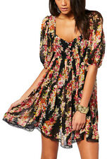 Lipsy UK 8 Cochella Floral Print Empire Smock Day/Summer Dress with Lace Trim