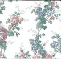 Peony Floral Vintage Wallpaper Pink Blue Green Cream Village 595512 Double Rolls