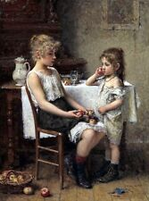 Oil Alexei Alexeivich Harlamoff - Nice Russian Two girls ( Choosing apples )