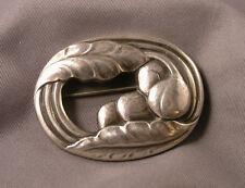 Vintage Georg Jensen Denmark Sterling Silver #18 Oval Leaf & Berry Brooch