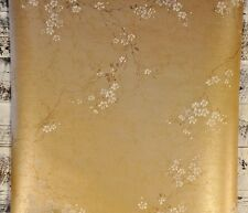 York Wallcoverings White Brown Grey Wisteria Floral Vine on Gold Wallpaper Diy