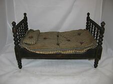 Antique Stenciled Folk Art Wooden Doll Bed