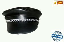 Men's PVC Leather Look YMCA Gay Village People Biker Hat Cap 80's Fancy Dress