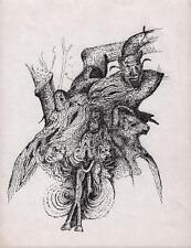Caras en árbol surrealista Pluma Y Tinta De Dibujo Arthur mitson c1985 Surrealismo