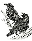 TALK OF THE TOWN 11x14 Zentangle Ravens/ Crows Print from Artist Sherry Shipley