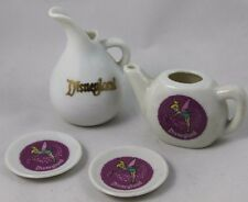 Vintage Disneyland Mini Tea Set - Teapot, Creamer, 2 Saucers with Tinker Bell