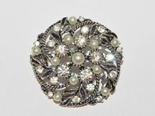Lovely Clear Rhinestone Faux White Pearl Bead Silver Tone Pin Brooch Wedding