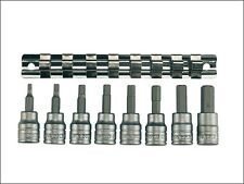 "Teng M3811 8 Piece Hex Allen Socket Set on Clip Rail AF Imperial 3/8"" Drive 3/32"