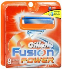 Gillette Fusion Power Cartridges Razor Blades Shavers 8 Refills Authentic Brand!