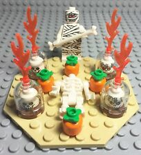 Lego New MOC Halloween Pumpkin / Skeleton Head Ritual With Mummy Mini Figure