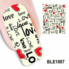 1 Sheet Love Letter Design Nail Art Water Decals Transfers DIY Nail Stickers