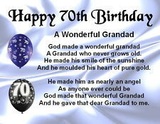 Fridge Magnet - Personalised - Grandad Poem - 70th Birthday + FREE GIFT BOX