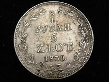 1839 KG Poland 3/4 Rouble / 5 Zlotych Silver Coin Looks XF/AU #C133