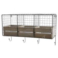 Industrial Wire Shelving Locker Room Wall Unit 3 Cubbies Wooden Storage Drawers