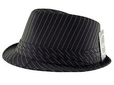 M.Collection Co.Classic Pinstripe Trilby Fedora Hat Cap Black.Brown.White.Navy
