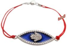 KABBALAH RED STRING BRACELET WITH HAMSA - CZ Crystals - cubic zirconia - luck