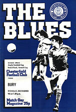 1980/81 Chesterfield v Bury, Anglo-Scottish Cup Semi-Final - PERFECT CONDITION