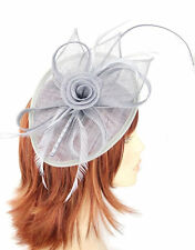 Silver Grey Oval Shaped Sinamay Flower,Bow,Feathers Hair Fascinator - Headband