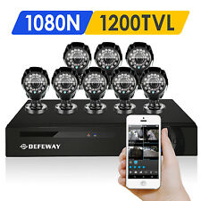 DEFEWAY Outdoor 1500TVL IR Home Security Camera 8 CH 1080N HD HDMI DVR System