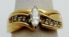 BEAUTIFUL Solid 14k Yellow Gold / Diamonds Ladies Ring * .40 CT TWT * Size 4.5