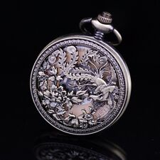 Half Hunter Brass Carved Phoenix Skeleton Gold Roman Dial Wind Up Pocket Watch