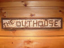 Rustic Adirondack Birch Bark Outhouse Wood Twig Sign Cabin Lodge Lake Out House