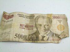 VINTAGE 5000000 TURKEY LIRASI TURK LIRA BES MILYON BANKNOTE BANK NOTE MONEY