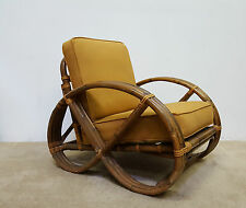 MCM Paul Frankl Style Bamboo and Rattan Pretzel Arm Chair Calif-Asia (Will Ship)