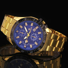 Fashion Men's Date Gold Stainless Steel Military Army Quartz Sport Wrist Watch