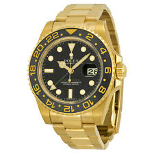 Rolex GMT Master II Black Index Dial Oyster Bracelet 18kt Yellow Gold Mens Watch