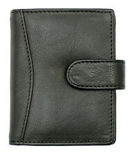 Mens Women's Genuine Leather Compact Credit Debit Card Holder Wallet Black 602