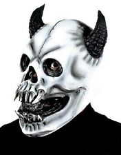Scary White Skull Monster Mask With Horns Halloween Fancy Dress